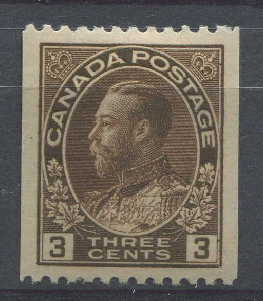 Canada #134 (SG#218a) 3c Very Deep Brown 1911-27 Admiral Perf. 12 Horizontally VF-84 OGHR Brixton Chrome