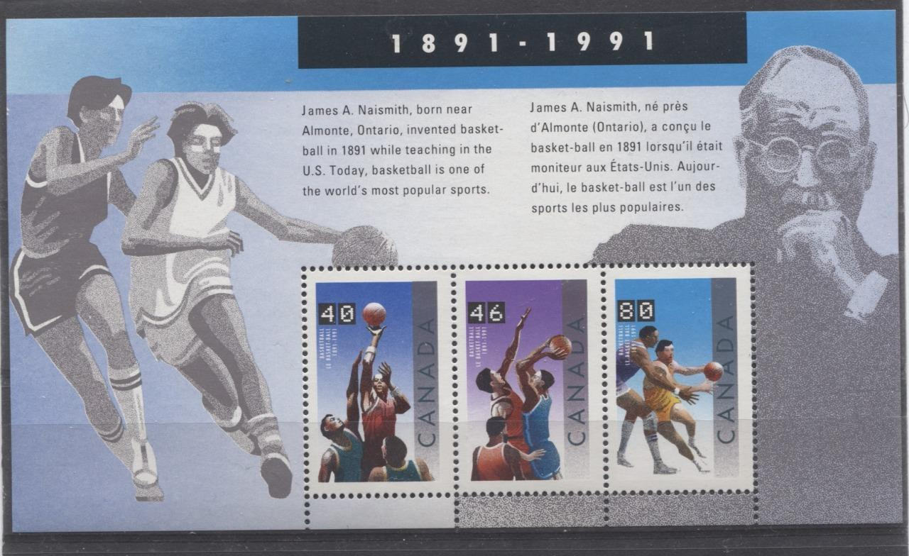 Canada #1344 (SG#MS1455) $1.66 1991 Basketball Centenary Souvenir Sheet NF/DF Paper VF-80 NH Brixton Chrome