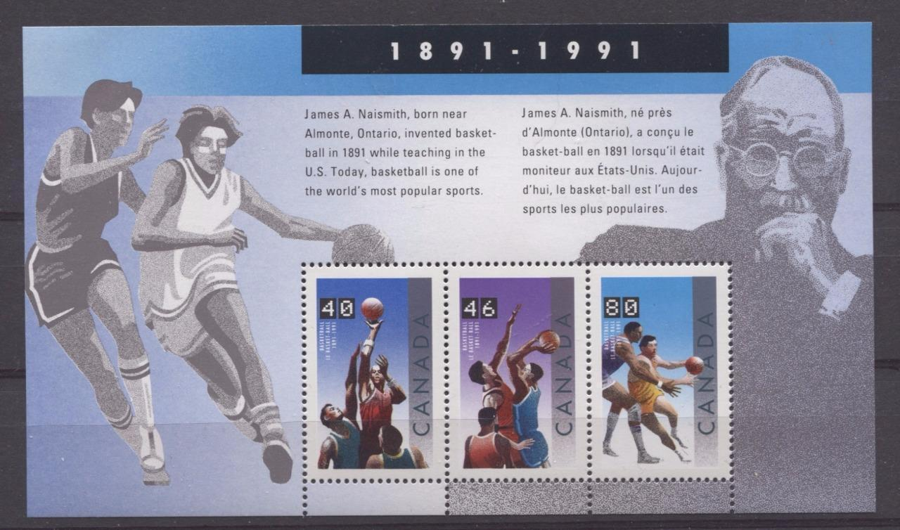 Canada #1344 (SG#MS1455) $1.66 1991 Basketball Centenary Souvenir Sheet NF/DF Paper VF-84 NH Brixton Chrome
