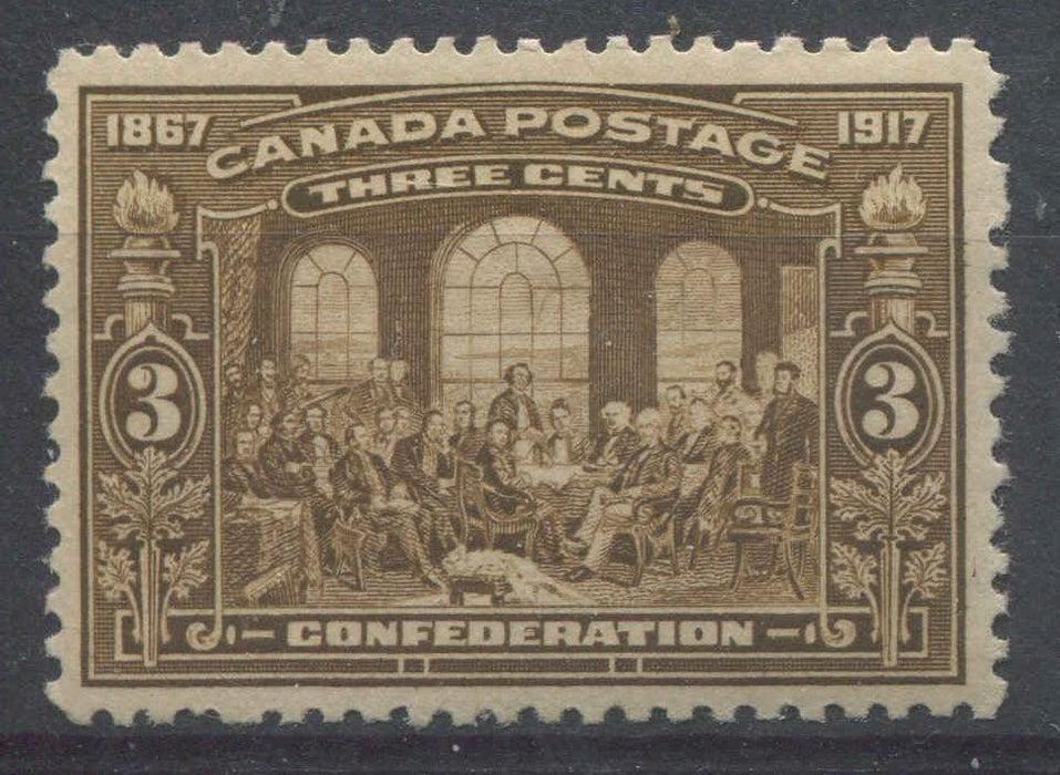 Canada #135 (SG#244) 3c Bistre Brown 50th Anniversary of Confederation VF-75 OG Brixton Chrome