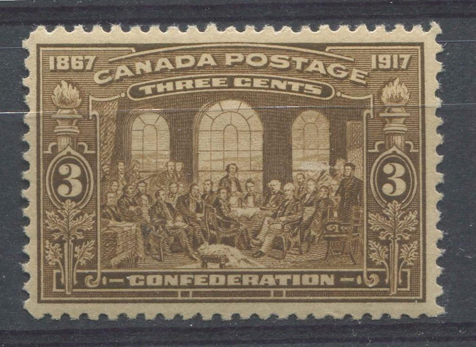 Canada #135 (SG#244) 3c Light Bistre Brown 50th Anniversary of Confederation VF-75 OG Brixton Chrome