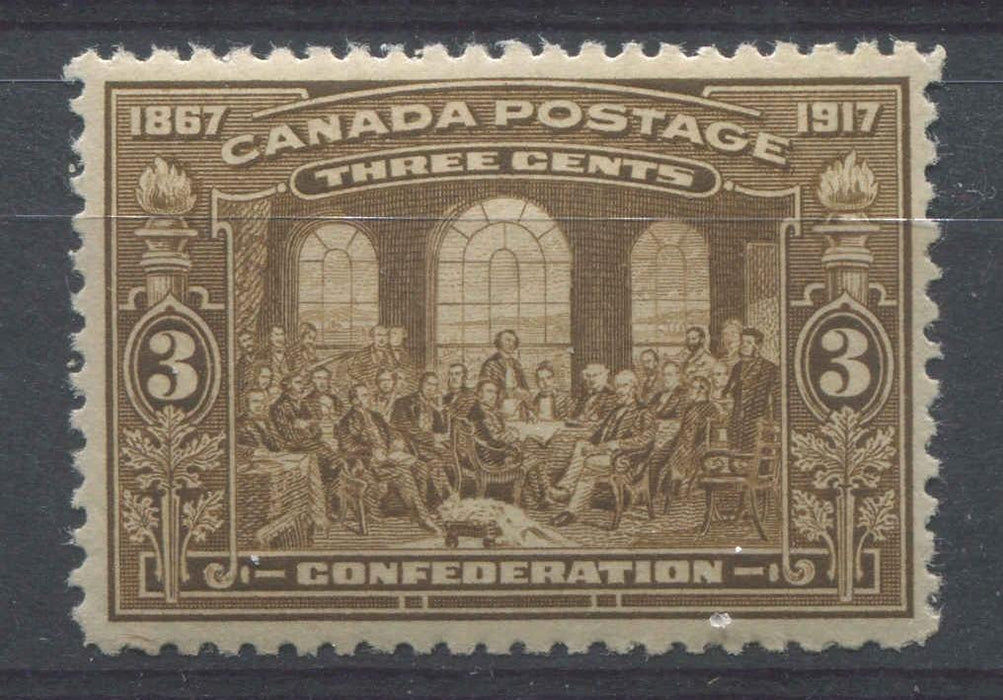 Canada #135 (SG#244) 3c Light Bistre Brown 50th Anniversary of Confederation VF-78 LH Brixton Chrome