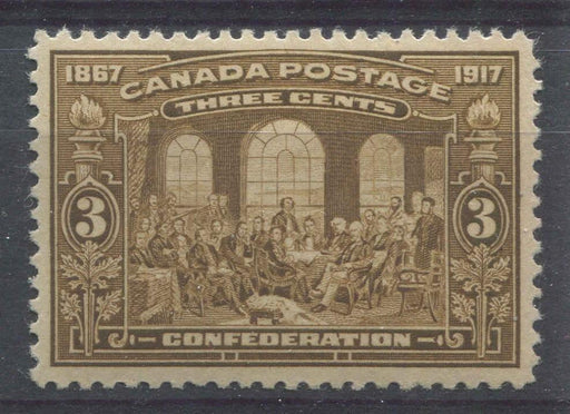 Canada #135 (SG#244) 3c Light Bistre Brown 50th Anniversary of Confederation VF-80 VLH Brixton Chrome