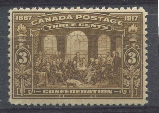 Canada #135 (SG#244) 3c Olive Bistre Brown 50th Anniversary of Confederation F-66 OG Brixton Chrome