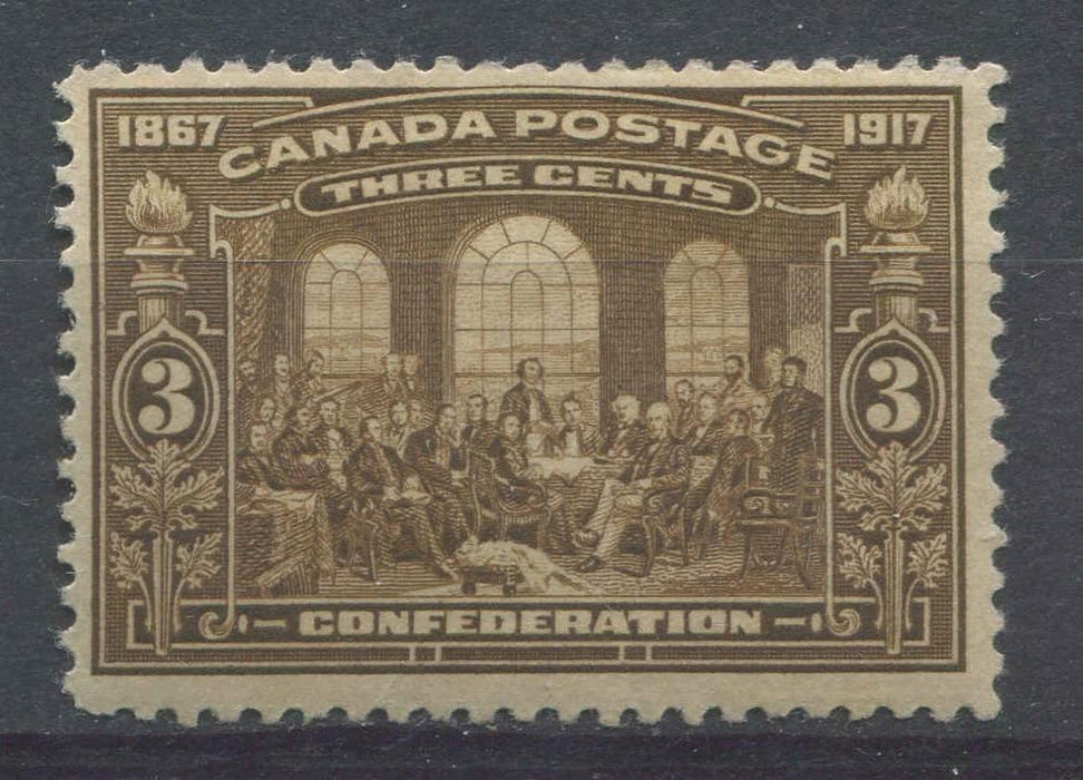 Canada #135 (SG#244) 3c Olive Bistre Brown 50th Anniversary of Confederation F-70 OG Brixton Chrome