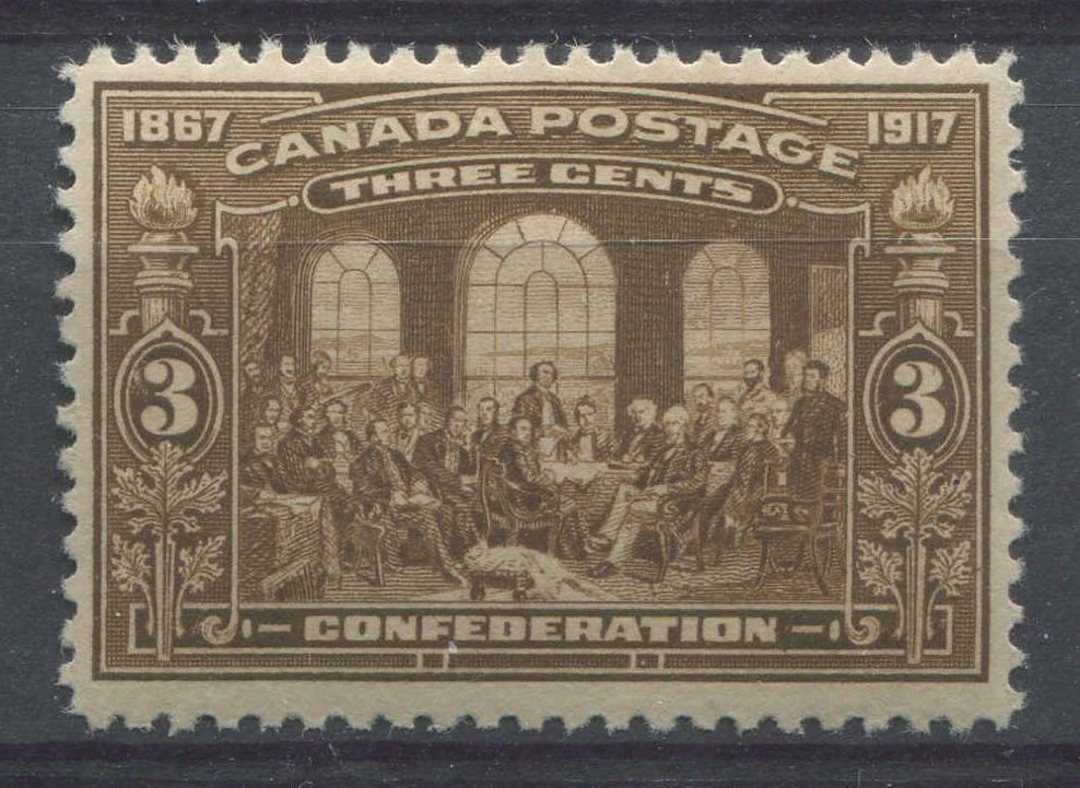 Canada #135 (SG#244) 3c Yellowish Bistre Brown 50th Anniversary of Confederation VF-75 LH Brixton Chrome