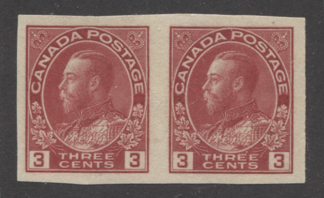 Canada #138 3c Deep Rose Red King George V, 1911-1928 Admiral Issue, A Very Fine Mint Hinged Pair of the 1924 Imperforate Issue Brixton Chrome