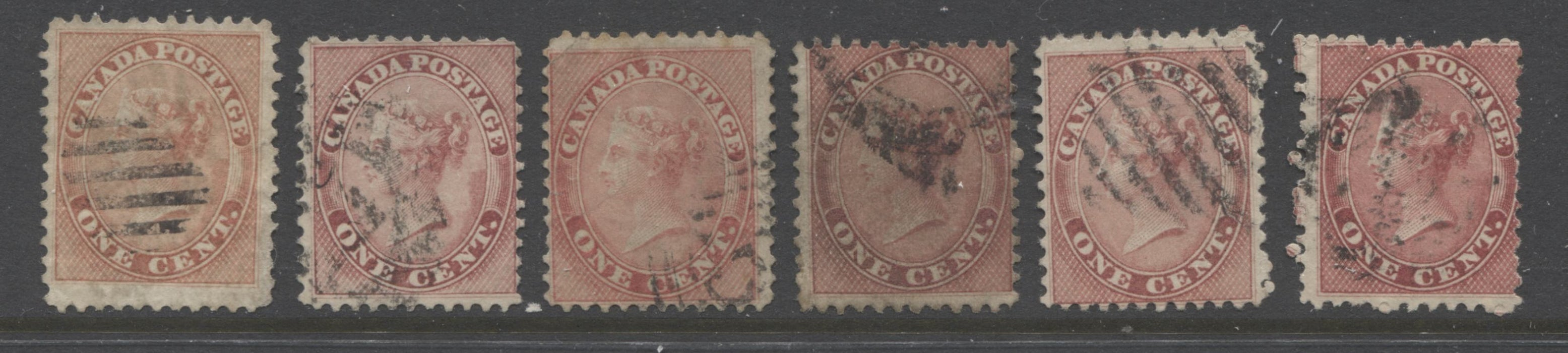 Canada #14, 14b 1c Rose and Deep Rose Queen Victoria, 1859-1867 First Cents Issue, Study Lot of 6 Fair to Very Good Used Examples With Various Shades, Perfs and Papers Brixton Chrome