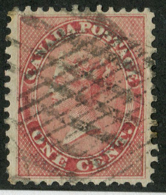 Canada #14 (SG#29) 1859-65 1c Rose Cents Issue - VF-76-J Used Example Brixton Chrome