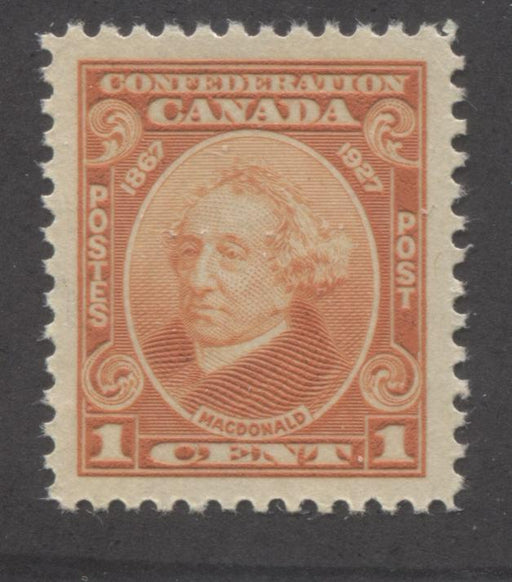Canada #141 1c Deep Dull Reddish Orange Sir John A Macdonald 1927 60th Anniversary of Confederation, Very Fine Mint NH Brixton Chrome