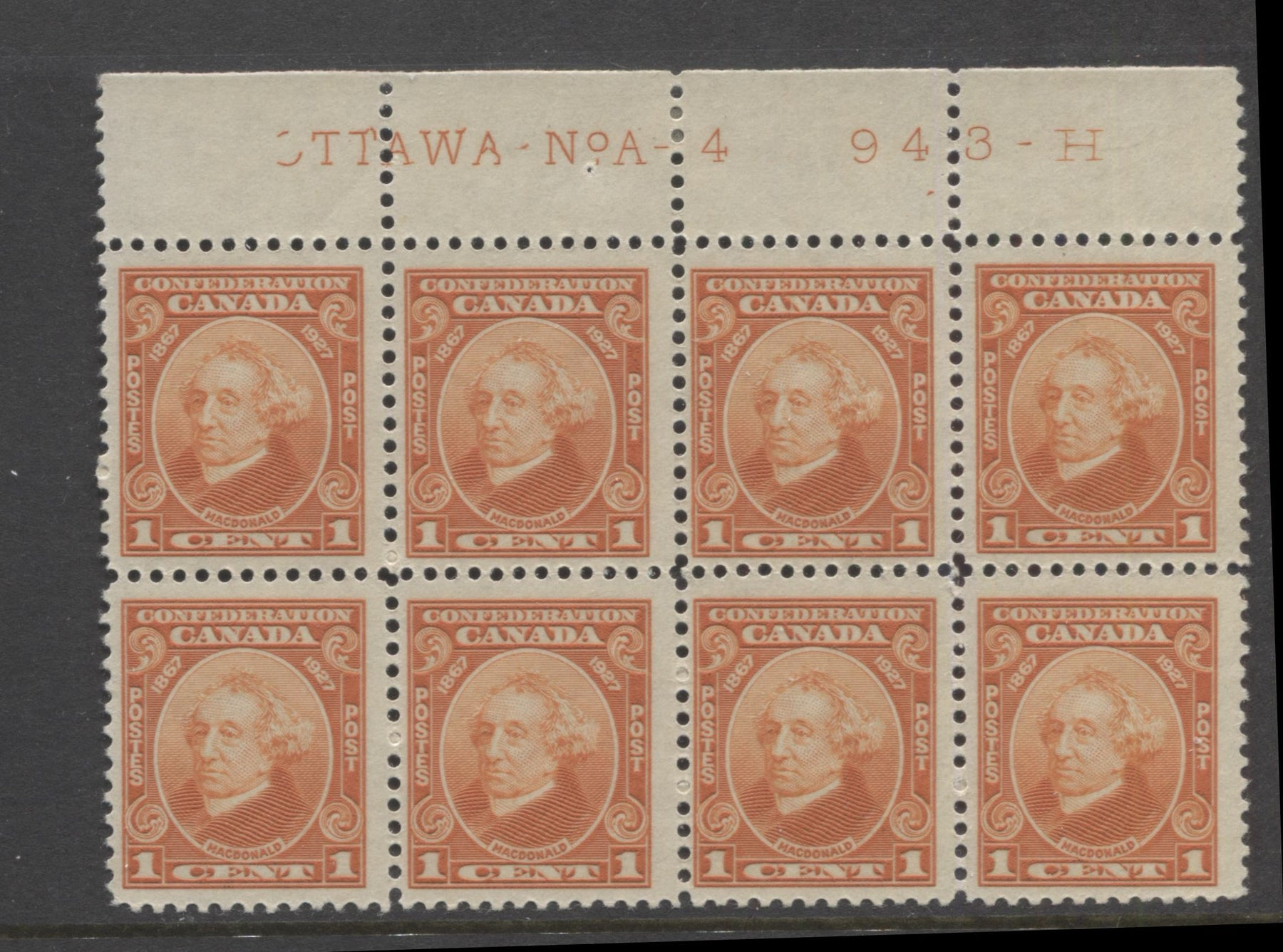 Canada #141 1c Deep Orange, Sir John A. Macdonald 1927 60th Anniversary of Confederation Issue Fine LH Plate 4 Block of 8 Brixton Chrome