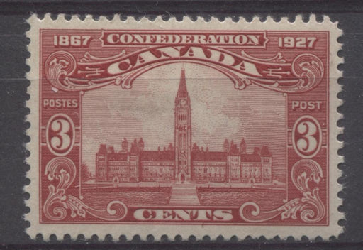 Canada #143 (SG#268) 3c Carmine Red Parliament 1927 Confederation Issue Paper With No Mesh VF-80 OG Brixton Chrome