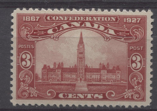 Canada #143 (SG#268) 3c Deep Carmine Red Parliament 1927 Confederation Issue Paper With No Mesh VF-75 LH Brixton Chrome