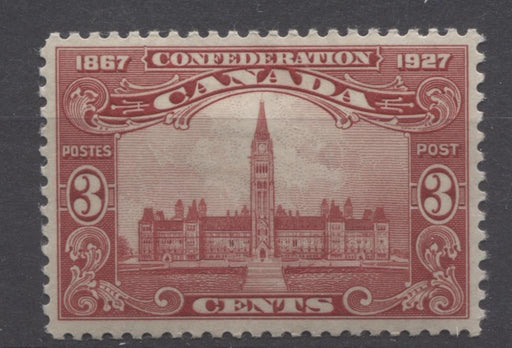 Canada #143 (SG#268) 3c Deep Carmine Red Parliament 1927 Confederation Issue Paper With No Mesh VF-80 OG Brixton Chrome
