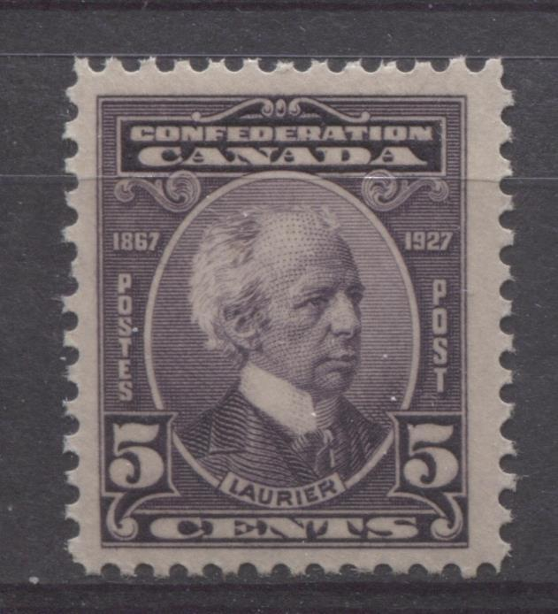 Canada #144 (SG#269) 5c Deep Dull Purple Laurier 1927 Confederation Issue F-73 NH Brixton Chrome