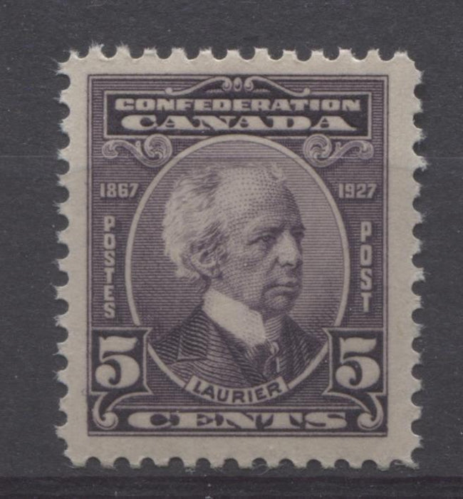 Canada #144 (SG#269) 5c Deep Dull Purple Laurier 1927 Confederation Issue Paper With No Mesh VF-75 OG Brixton Chrome