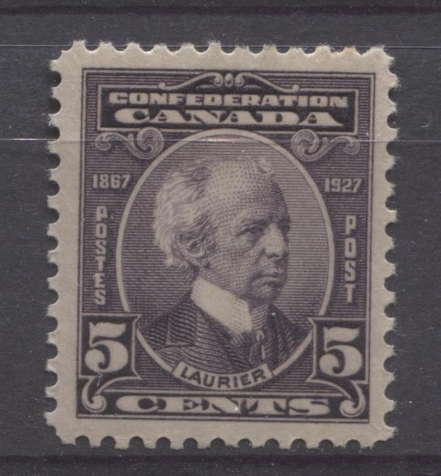 Canada #144 (SG#269) 5c Deep Dull Purple Laurier 1927 Confederation Issue Paper With No Mesh VF-80 OG Brixton Chrome