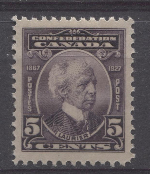 Canada #144 (SG#269) 5c Deep Dull Purple Laurier 1927 Confederation Issue VF-78 NH Brixton Chrome