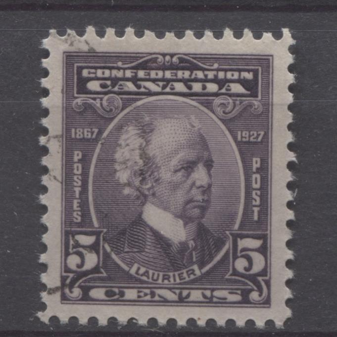 Canada #144 (SG#269) 5c Deep Dull Purple Laurier 1927 Confederation Issue VF-84 CDS Used Brixton Chrome
