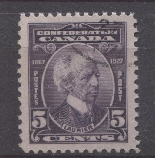 Canada #144 (SG#269) 5c Deep Slate Lilac Laurier 1927 Confederation Issue VF-84 CDS Used Brixton Chrome