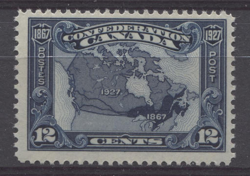 Canada #145 (SG#270) 12c Bright Indigo Map 1927 Confederation Issue Fine Mesh Paper F-70 NH Brixton Chrome