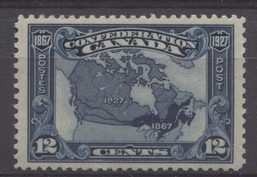 Canada #145 (SG#270) 12c Bright Indigo Map 1927 Confederation Issue Fine Mesh Paper VF-84 OG LH Brixton Chrome