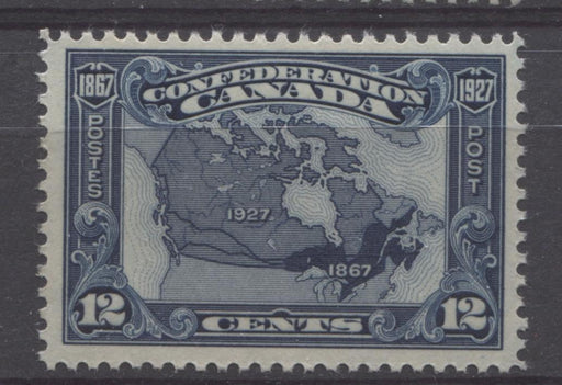 Canada #145 (SG#270) 12c Bright Indigo Map 1927 Confederation Issue Paper With No Mesh VF-75 LH Brixton Chrome