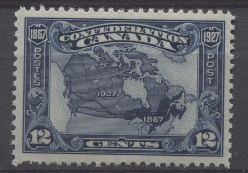 Canada #145 (SG#270) 12c Bright Indigo Map 1927 Confederation Issue Paper With No Mesh VF-75 NH Brixton Chrome