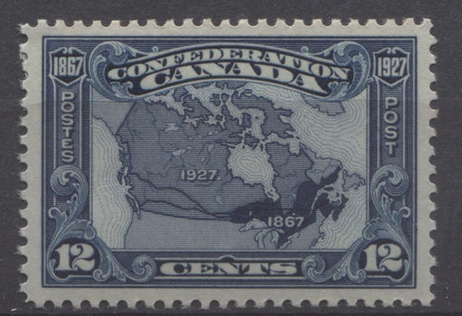 Canada #145 (SG#270) 12c Bright Indigo Map 1927 Confederation Issue Paper With No Mesh VF-80 OG Brixton Chrome