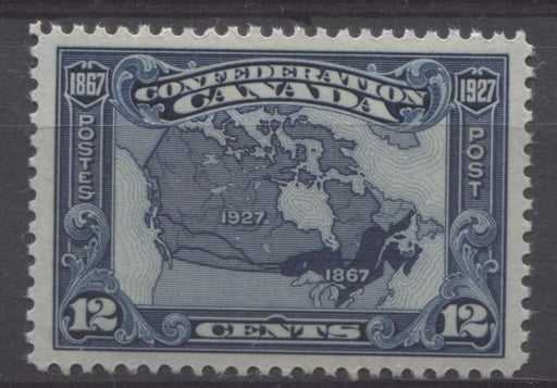 Canada #145 (SG#270) 12c Bright Indigo Map 1927 Confederation Issue Paper With No Mesh VF-84-J OG Brixton Chrome
