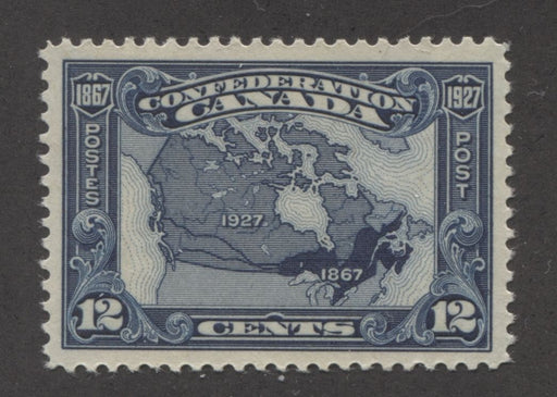 Canada #145 (SG#270) 12c Bright Indigo Map 1927 Confederation Issue Paper With No Mesh VF-84 NH Brixton Chrome