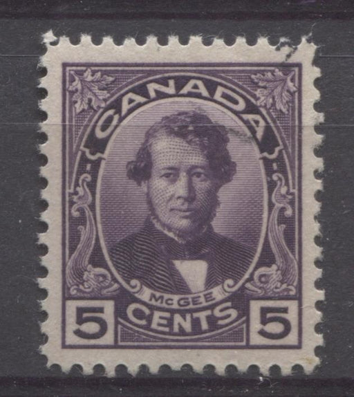 Canada #146 (SG#271) 5c Deep Dull Purple McGee 1927 Historical Issue Paper With No Mesh VF-84J Used Brixton Chrome