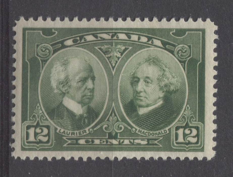 Canada #147 (SG#272) 12c Deep Bright Green Laurier & Macdonald 1927 Historical Issue VF-78 OG Brixton Chrome