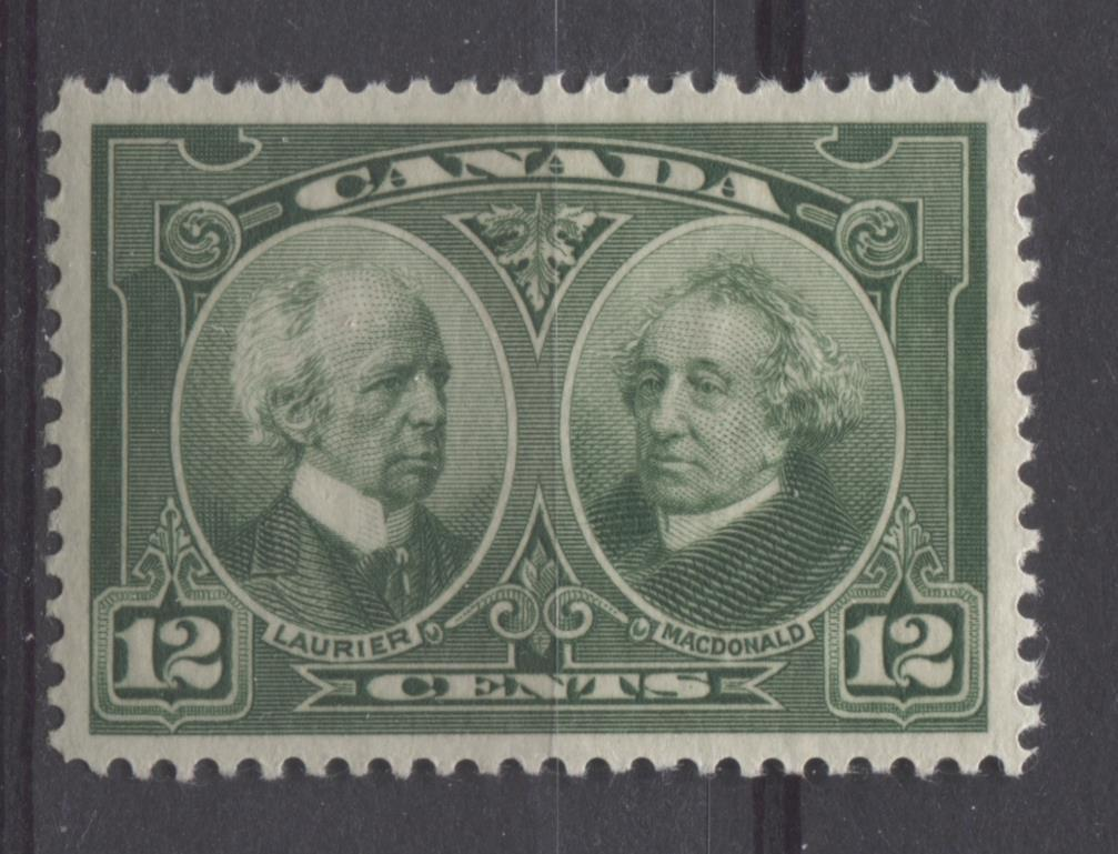 Canada #147 (SG#272) 12c Deep Green Laurier & Macdonald 1927 Historical Issue VF-82 OGHR Brixton Chrome