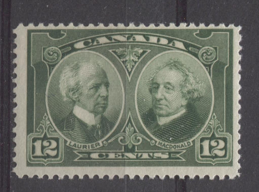 Canada #147 (SG#272) 12c Deep Yellowish Green Laurier & Macdonald 1927 Historical Issue F-65 NH Brixton Chrome