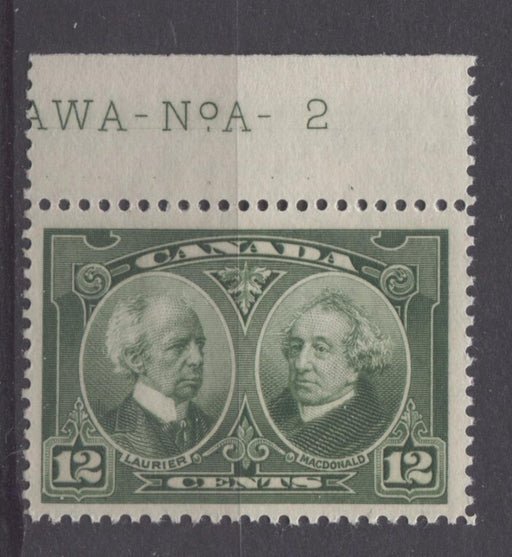 Canada #147 (SG#272) 12c Deep Yellowish Green Laurier & Macdonald 1927 Historical Issue F-70 J OG Brixton Chrome
