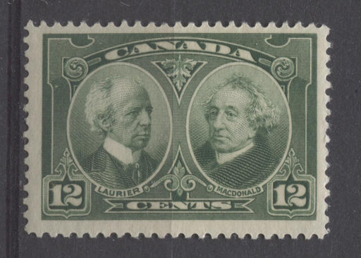 Canada #147 (SG#272) 12c Deep Yellowish Green Laurier & Macdonald 1927 Historical Issue F-70 NH Brixton Chrome