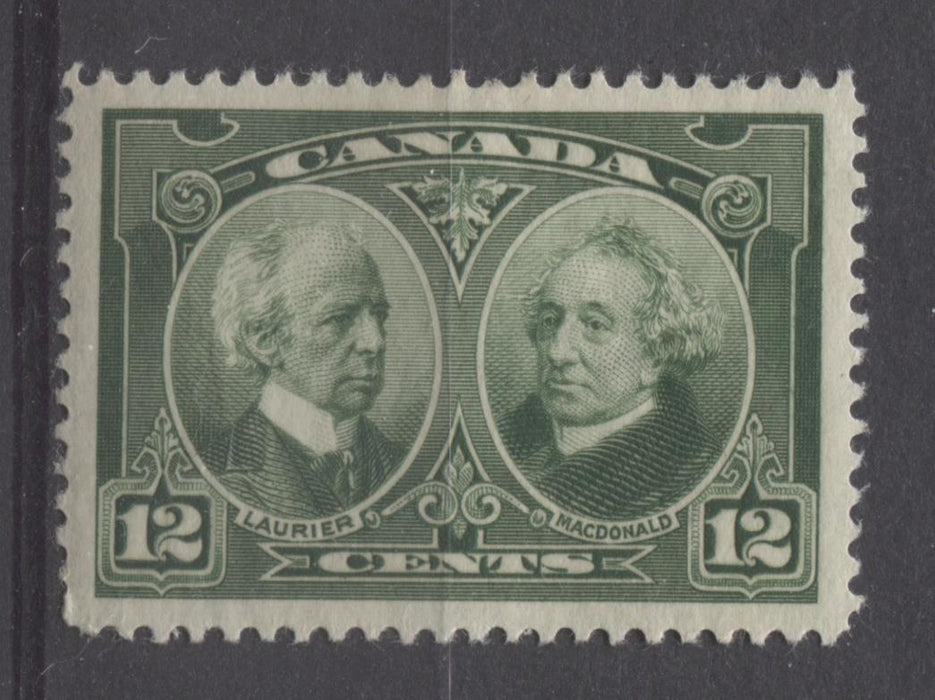 Canada #147 (SG#272) 12c Deep Yellowish Green Laurier & Macdonald 1927 Historical Issue F-74 OGHR Brixton Chrome