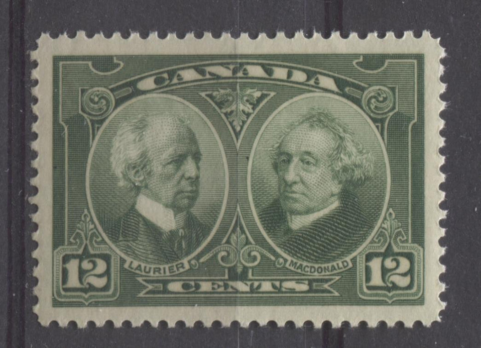 Canada #147 (SG#272) 12c Deep Yellowish Green Laurier & Macdonald 1927 Historical Issue SUP-98 NH Brixton Chrome