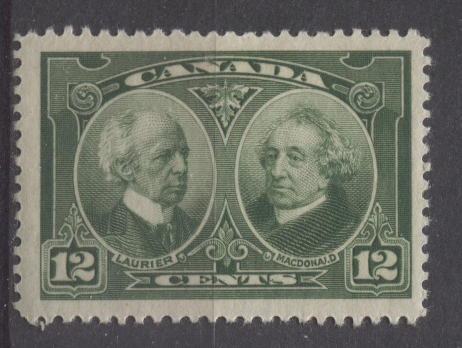 Canada #147 (SG#272) 12c Deep Yellowish Green Laurier & Macdonald 1927 Historical Issue VF-75 OG Brixton Chrome