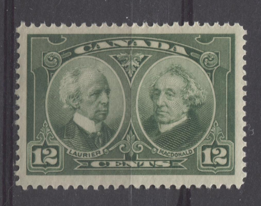 Canada #147 (SG#272) 12c Deep Yellowish Green Laurier & Macdonald 1927 Historical Issue VF-78 LH Brixton Chrome