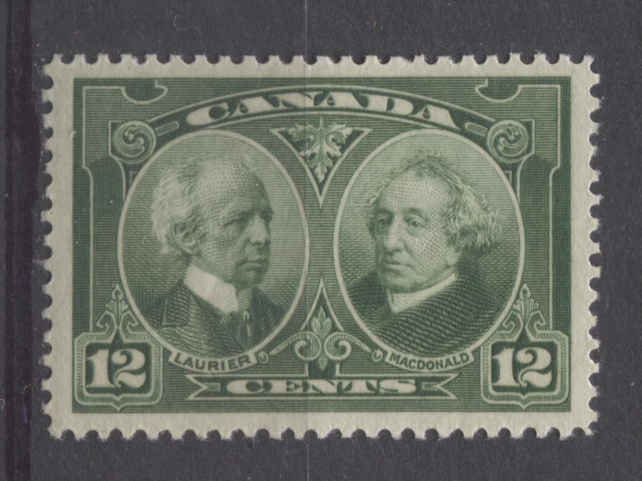 Canada #147 (SG#272) 12c Deep Yellowish Green Laurier & Macdonald 1927 Historical Issue VF-80 OG Brixton Chrome
