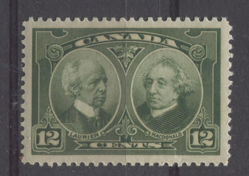 Canada #147 (SG#272) 12c Deep Yellowish Green Laurier & Macdonald 1927 Historical Issue VF-84 OG Brixton Chrome
