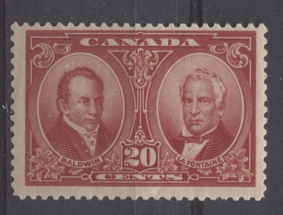 Canada #148 (SG#273) 20c Carmine Red La Fontaine & Baldwin 1927 Historical Issue F-70 NH Brixton Chrome