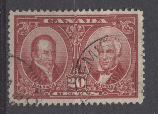 Canada #148 (SG#273) 20c Carmine Red La Fontaine & Baldwin 1927 Historical Issue F-74 Used Brixton Chrome