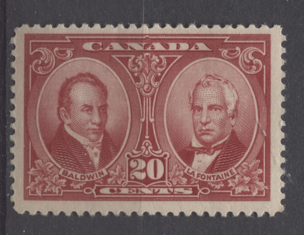 Canada #148 (SG#273) 20c Carmine Red La Fontaine & Baldwin 1927 Historical Issue VF-75 OG Brixton Chrome