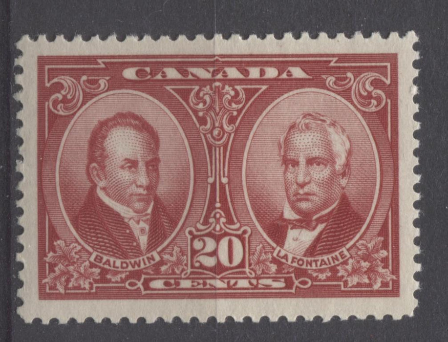 Canada #148 (SG#273) 20c Carmine Red La Fontaine & Baldwin 1927 Historical Issue VF-80-J LH Brixton Chrome