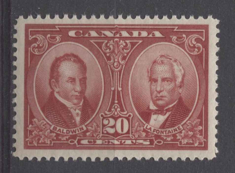 Canada #148 (SG#273) 20c Carmine Red La Fontaine & Baldwin 1927 Historical Issue VF-80 NH Brixton Chrome