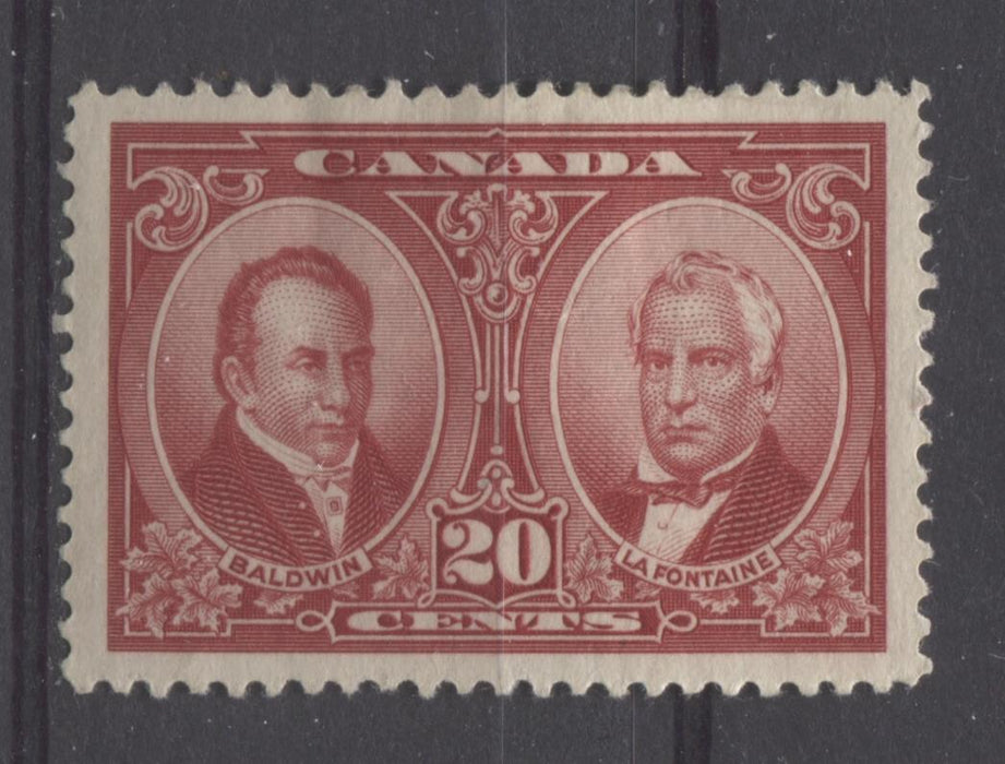 Canada #148 (SG#273) 20c Carmine Red La Fontaine & Baldwin 1927 Historical Issue VF-82 HR Brixton Chrome