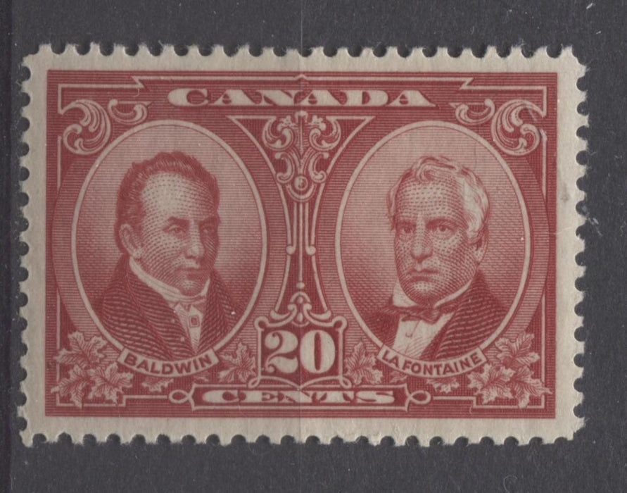 Canada #148 (SG#273) 20c Carmine Red La Fontaine & Baldwin 1927 Historical Issue VF-82 OG Brixton Chrome